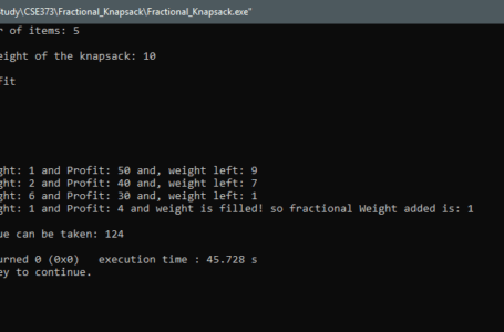 Fractional Knapsack Problem – Programming Solution